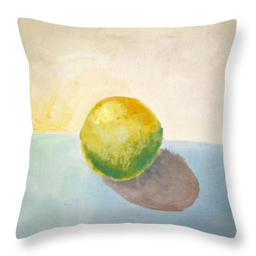 Lemon Throw Pillow featuring the painting Yellow Lemon Still Life by Michelle Calkins