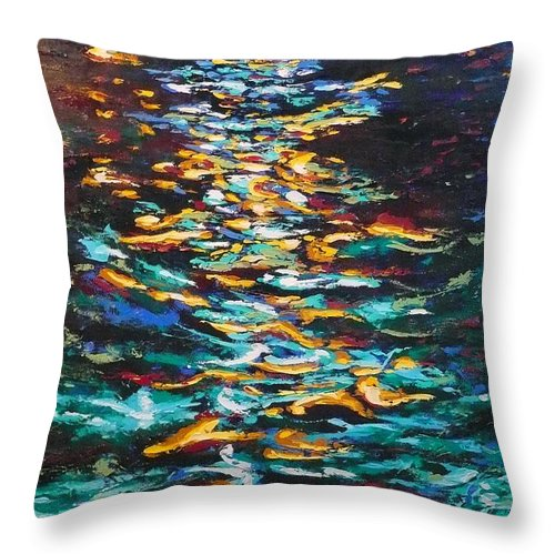 Landscape Throw Pillow featuring the painting Yellow Light On Dark Water by Ericka Herazo
