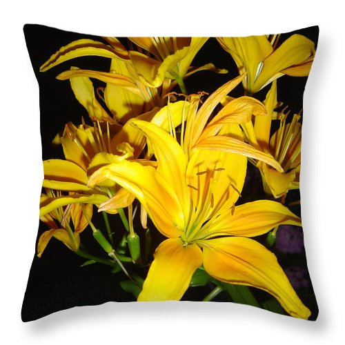 Yellow Lilies Bouquet Throw Pillow featuring the photograph Yellow Lilies by Joanne Smoley