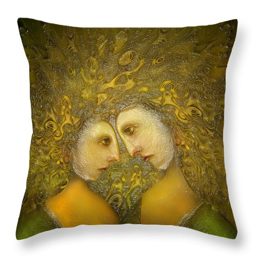 Yellow Lovers Throw Pillow featuring the digital art Yellow Lovers by Surrealism