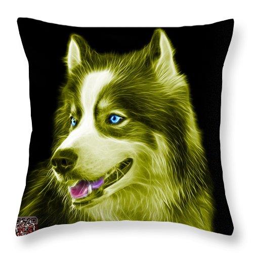 Siberian Husky Throw Pillow featuring the painting Yellow Modern Siberian Husky Dog Art - 6024 - Bb by James Ahn