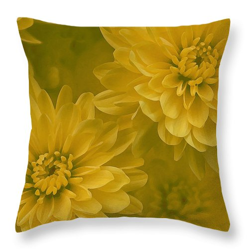 Yellow Mum Art Throw Pillow featuring the photograph Yellow Mums by Linda Sannuti