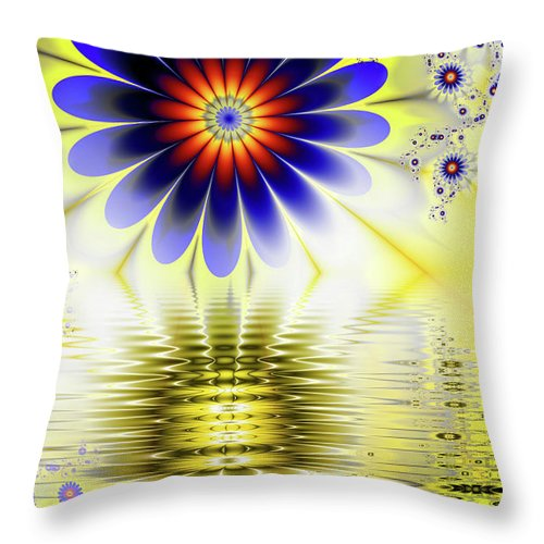 Pool Throw Pillow featuring the digital art Yellow Nova by John Edwards