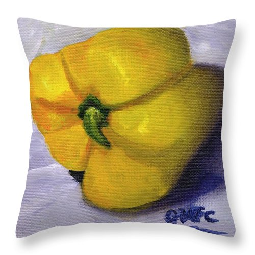 Yellow Throw Pillow featuring the painting Yellow Pepper On Linen by Gloria Condon