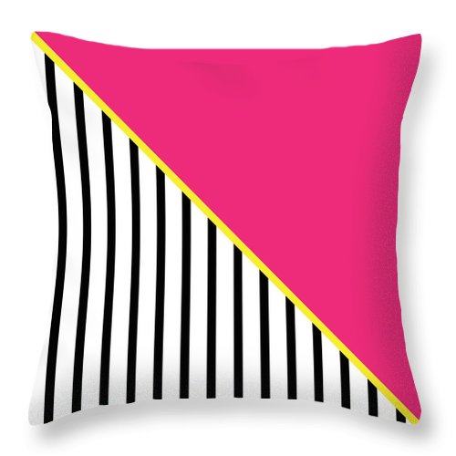 Pink Throw Pillow featuring the digital art Yellow Pink And Black Geometric 2 by Linda Woods