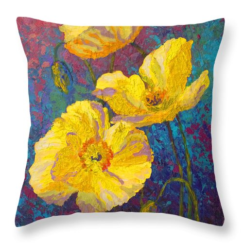 Poppies Throw Pillow featuring the painting Yellow Poppies by Marion Rose