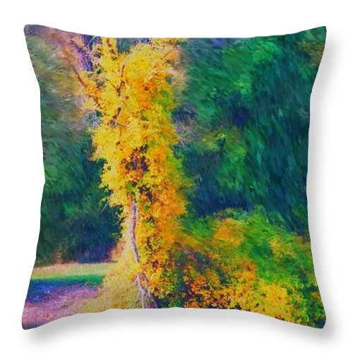 Digital Landscape Throw Pillow featuring the digital art Yellow Reflections by David Lane