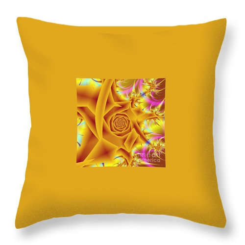 Digital Art Throw Pillow featuring the digital art Yellow Rose by Dragica Micki Fortuna