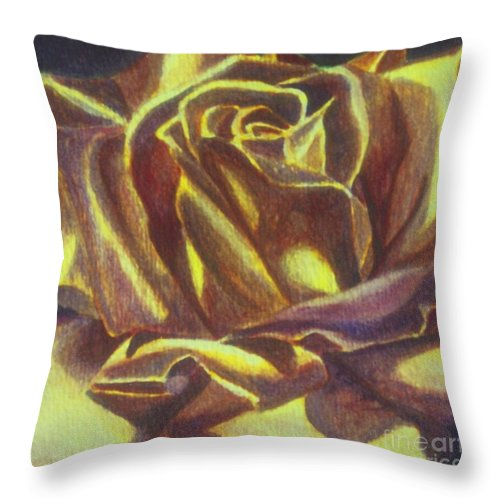Rose Throw Pillow featuring the painting Yellow Rose by Emily Young