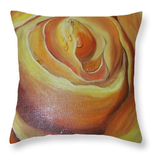Color Throw Pillow featuring the painting Yellow Rose by Nataliia Fialko