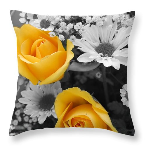 Rose Throw Pillow featuring the photograph Yellow Roses by Amy Fose