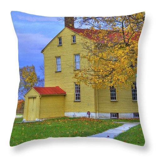 Shaker Throw Pillow featuring the photograph Yellow Shaker House 2 by Sam Davis Johnson