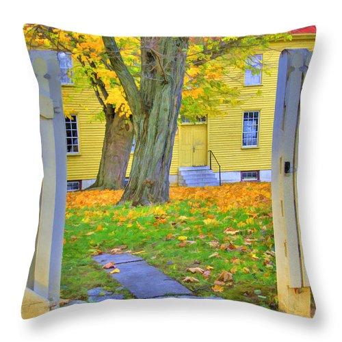 Shaker Throw Pillow featuring the photograph Yellow Shaker House Gate by Sam Davis Johnson