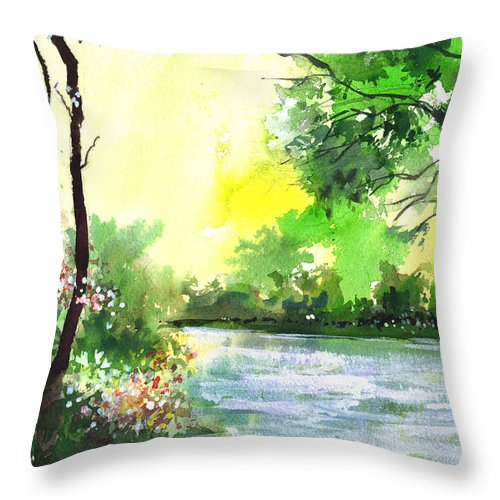 Sky Throw Pillow featuring the painting Yellow Sky by Anil Nene