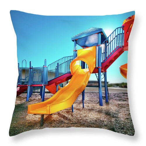 Paint Throw Pillow featuring the photograph Yellow Slide by Yo Pedro