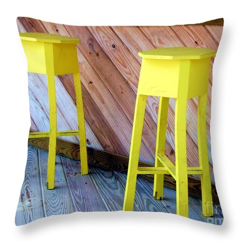 Yellow Throw Pillow featuring the photograph Yellow Stools by Debbi Granruth