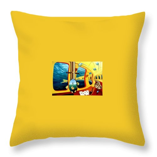 Art Oil Painting Canvas Yellow Submarine Nautilus Trompet Corn Music Throw Pillow featuring the painting Yellow Submarine by Gyuri Lohmuller