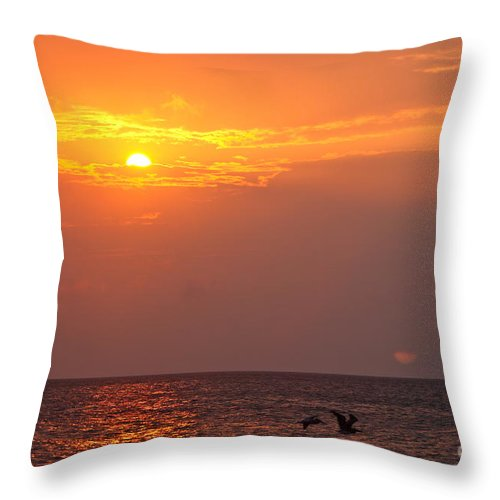 Birds Throw Pillow featuring the photograph Yellow Sunrise And Three Birds by Nadine Rippelmeyer