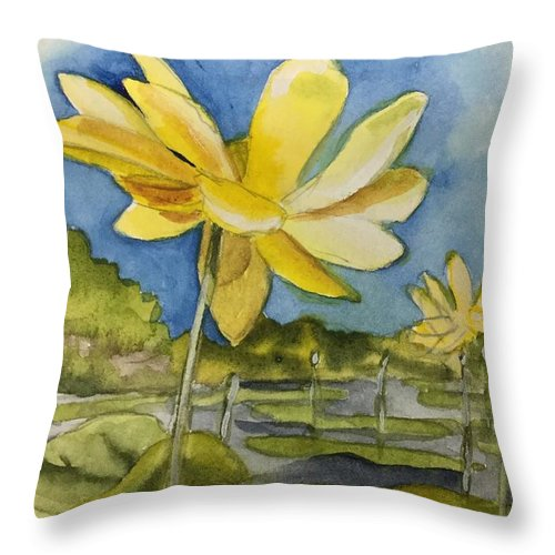 Lotus Throw Pillow featuring the painting Yellow Sunshine by Jean Blackmer