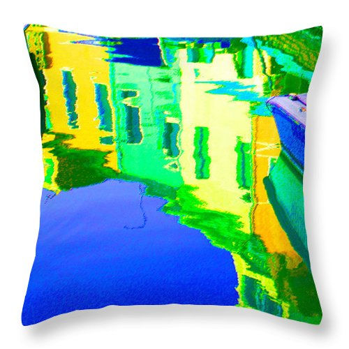 Yellow Throw Pillow featuring the digital art Yellow Toned Reflections by Donna Corless