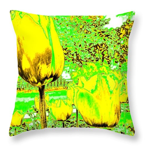 Abstract Throw Pillow featuring the digital art Yellow Tulips Abstract by Will Borden