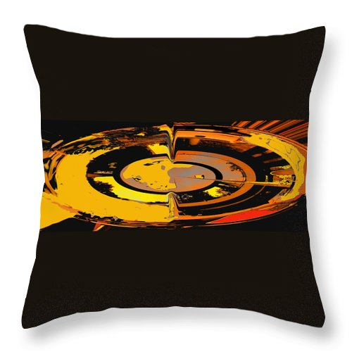 Abstract Throw Pillow featuring the digital art Yellow Vortex by Ian MacDonald