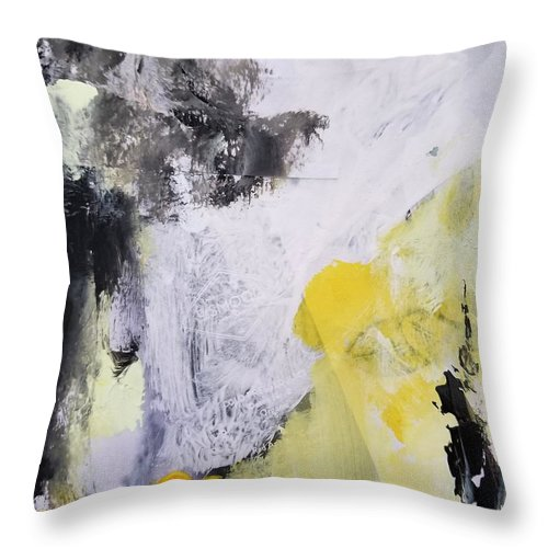 Abstract Throw Pillow featuring the painting Yellow Winter by Patricia Byron