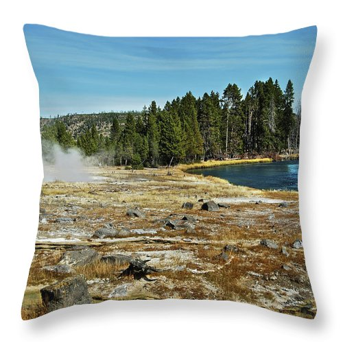 Yellowstone Throw Pillow featuring the photograph Yellowstone Hot Springs by Michael Peychich