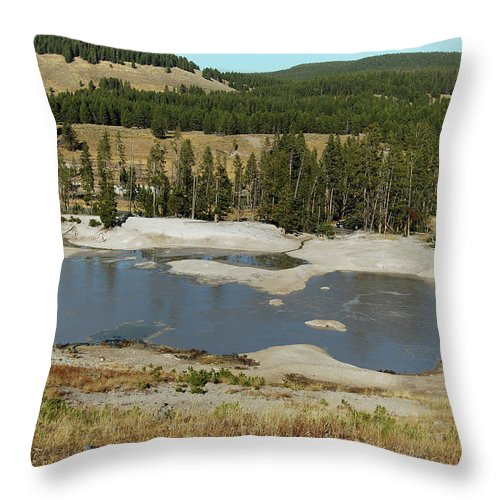 Yellowstone Throw Pillow featuring the photograph Yellowstone Mineral Ponds by Michael Peychich