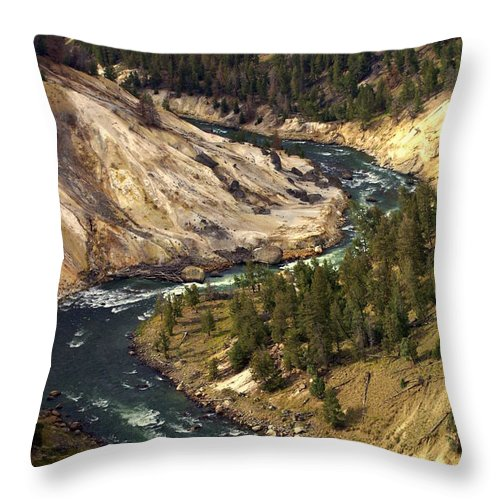 Yellowstone National Park Throw Pillow featuring the photograph Yellowstone River Canyon by Marty Koch
