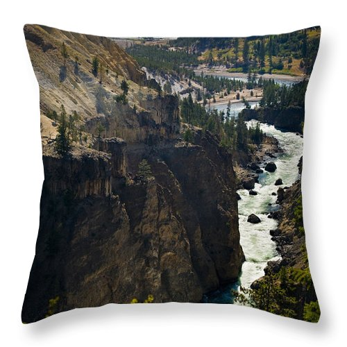 River Throw Pillow featuring the photograph Yellowstone River by Chad Davis