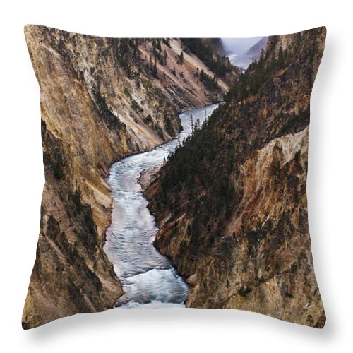 River Throw Pillow featuring the photograph Yellowstone River Falls by Chad Davis