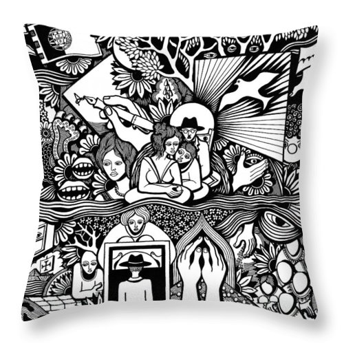 Drawing Throw Pillow featuring the drawing Yes It's Me I Myself What Turned Out To Be by Jose Alberto Gomes Pereira