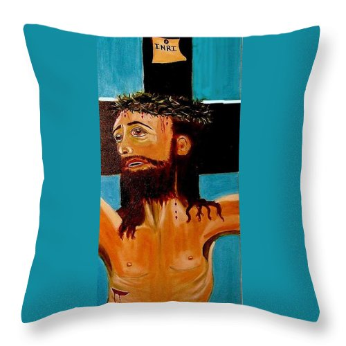 Jesus Throw Pillow featuring the painting Yeshua by Rusty Gladdish