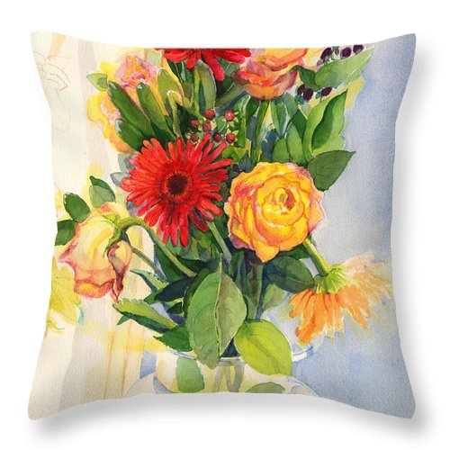 Watercolor Flowers Throw Pillow featuring the painting Yesterdays Beauties by Nancy Watson