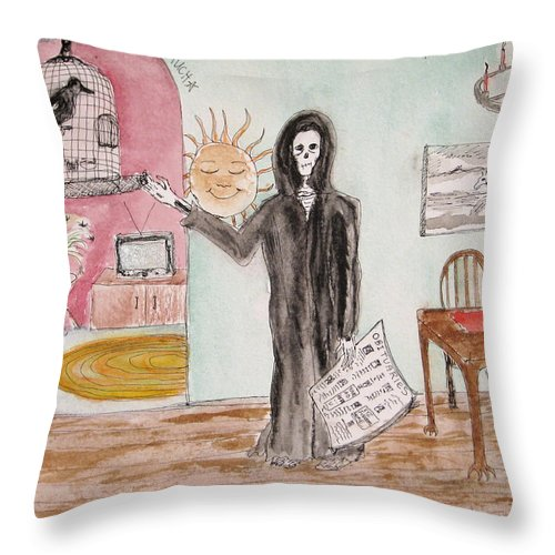 Bird Birdcage Darkestartist Death Home Humor Ink Watercolor Watercolour Darkest Artist Throw Pillow featuring the painting Yesterdays News by Darkest Artist