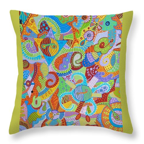 Absract Throw Pillow featuring the painting Yin And Yang 6 by Erika Avery
