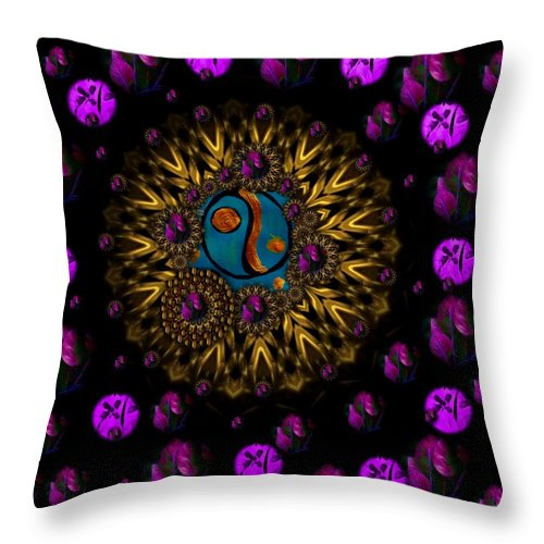 Acryl Throw Pillow featuring the mixed media Yin And Yang Collage by Pepita Selles