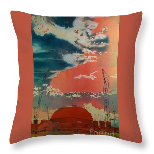 Orange Throw Pillow featuring the painting Yin And Yang by Elizabeth Carr