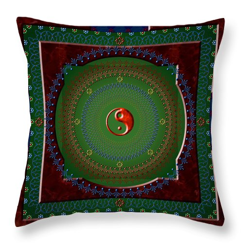 Mandala Throw Pillow featuring the digital art Yin Yang by Stephen Lucas