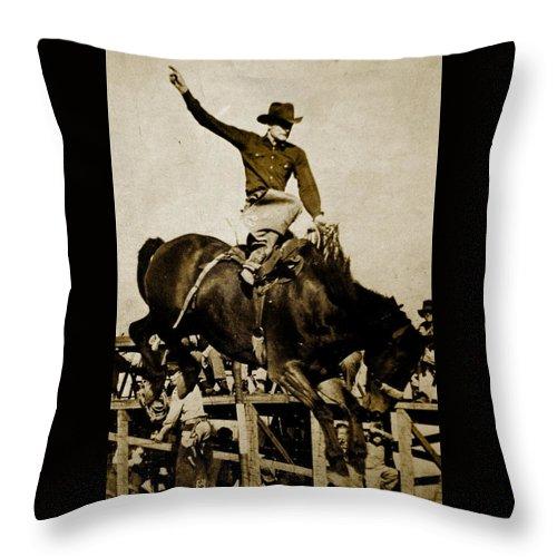 Busting Bronco Throw Pillow featuring the photograph Yippy-ki -yea by Randi Seaman