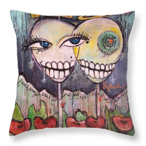 Skull Heads Throw Pillow featuring the painting Yo Soy La Luna by Laurie Maves ART