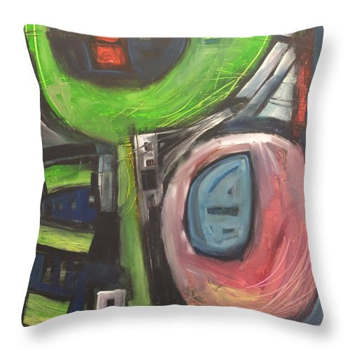 Abstract Throw Pillow featuring the painting YO by Tim Nyberg