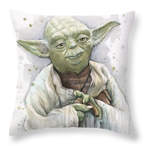 Yoda Throw Pillow featuring the painting Yoda by Olga Shvartsur