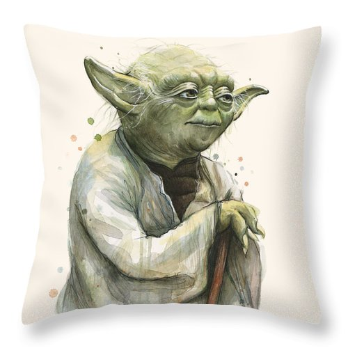 Yoda Throw Pillow featuring the painting Yoda Portrait by Olga Shvartsur