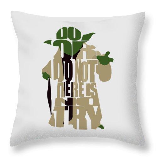 Yoda Throw Pillow featuring the digital art Yoda - Star Wars by Inspirowl Design