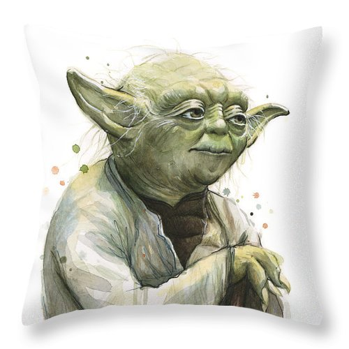 Yoda Throw Pillow featuring the painting Yoda Watercolor by Olga Shvartsur