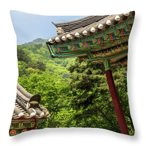 Asia Throw Pillow featuring the photograph Yongmunsa by Peteris Vaivars