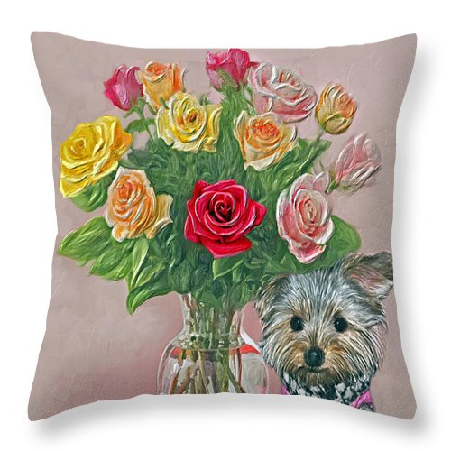 Roses Throw Pillow featuring the painting Yorkey Rose by Susanna Katherine
