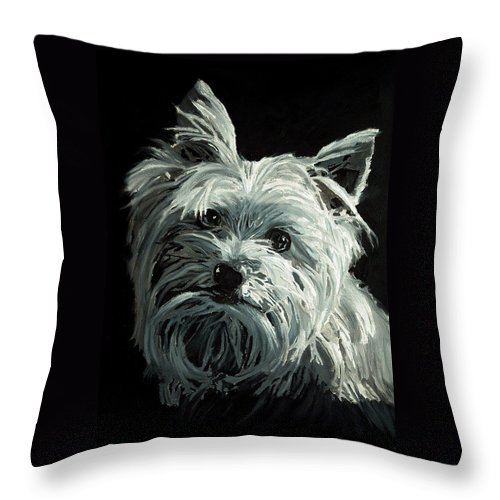 Animals Throw Pillow featuring the painting Yorkie by Portraits By NC